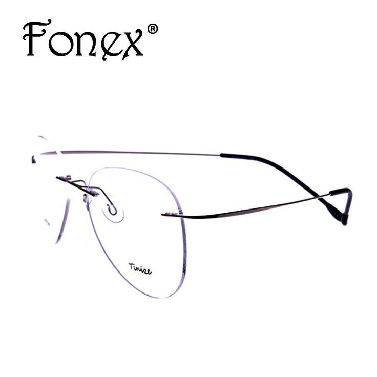 2016 New Fashion Pilot Rimless Glasses Memory Titanium Eyeglasses Myopia Optical Frame Brand 607 TINIZE
