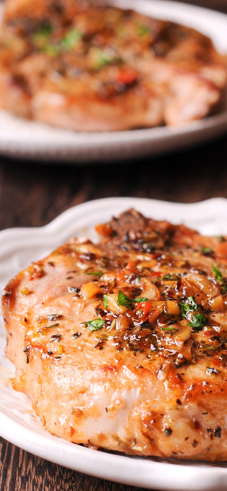 Pork chops and garlic brown butter and herb sauce