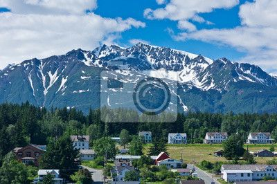 Choose a wall mural  alaska, america, city - beautiful view of haines city near glacier bay, alaska, usa. PIXERS wall murals made of great fabrics. Choose artistic photos from our catalog.