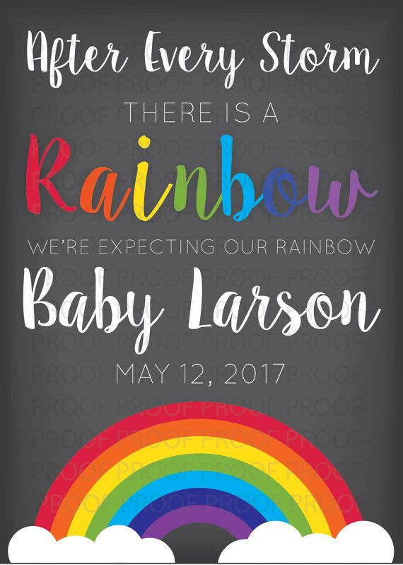 Printable Bright Rainbow Pregnancy Announcement by TheRainbowBaby