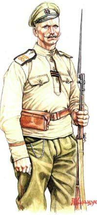 Рядовой Георгиевских запасных пехотных полков. 1917. (художник А. Каращук)