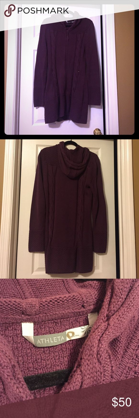 Athleta Large Plum Sweater Used, but no signs of wear. Beautiful croquet detailing around neck and sleeves Athleta Sweaters Cardigans