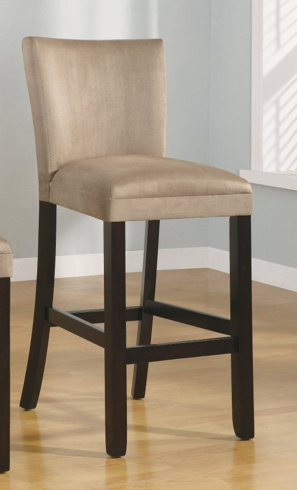 Amazon Com Set Of 2 29 Quot H Bar Stools Taupe Microfiber