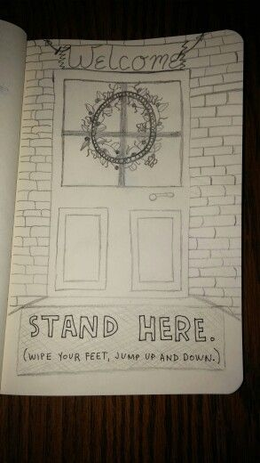 Wreck This Journal page I did today...no color yet, will probably do that tonight or tomorrow. Stand Here. Page