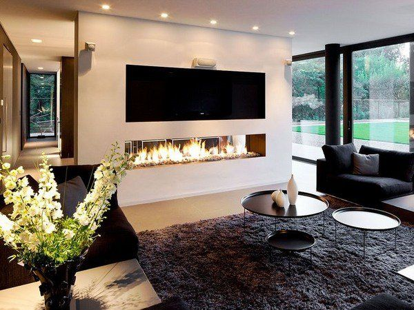 modern linear fireplaces contemporary living room design ...