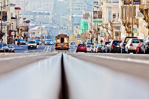 Ridding Cable Car in San Francisco, California, USA
