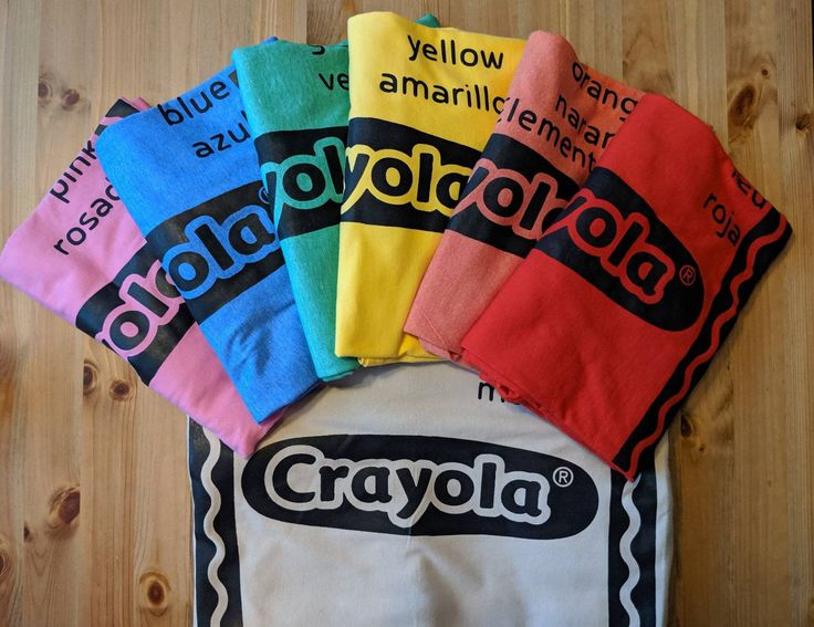 Crayola T shirt costume with color names crayon group Halloween costume school teacher principal family kids baby pack of crayons