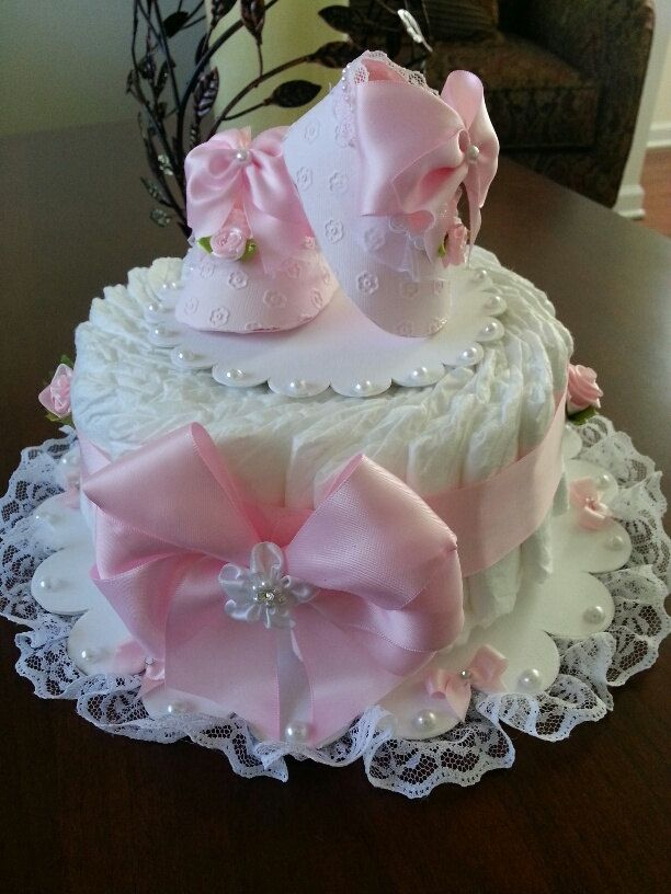 One tier pink and white diaper cake baby shower for Pink diaper bouquet