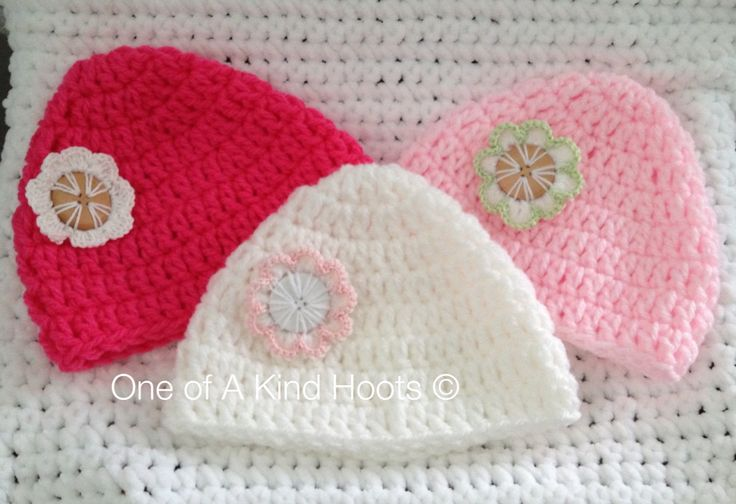 Chunky Crochet Baby Hats and Crochet Flower Buttons
