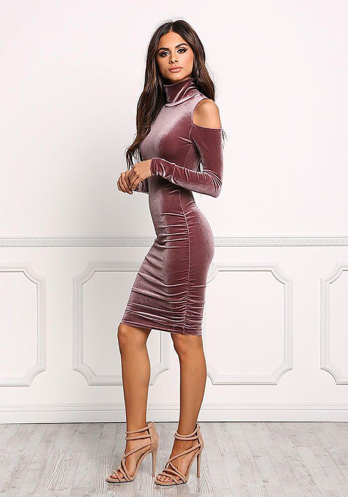 Mauve Cold Shoulder Velvet Bodycon Dress - New                                                                                                                                                                                 More