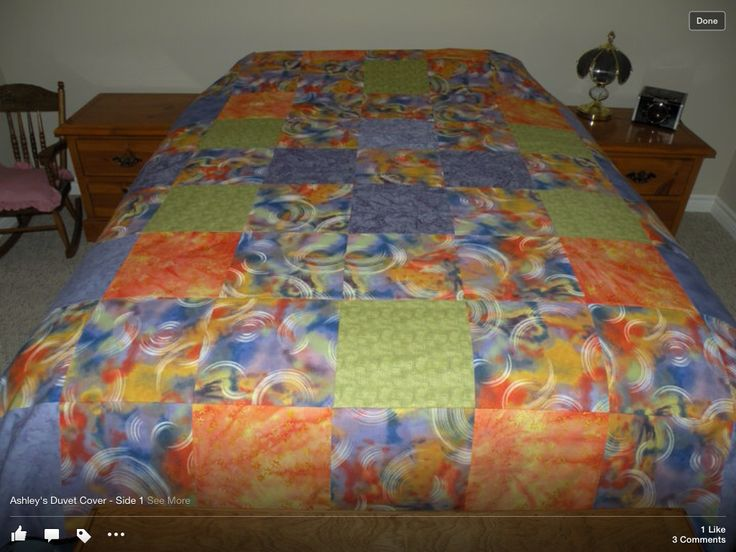 One side of reversible duvet cover.  Made for my daughter, Ashley, in 2010.