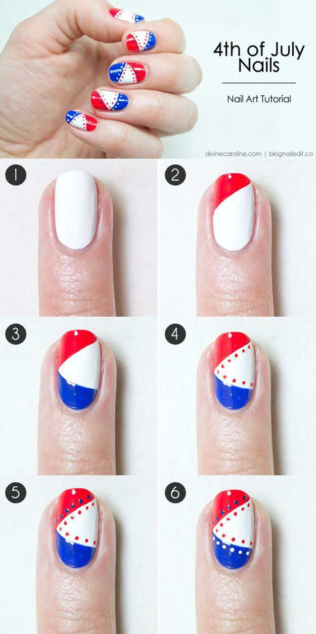 4th of July Nails: Rock this Patriotic Mani by DIY Ready at http://diyready.com/4th-of-july-recipes-and-party-ideas/