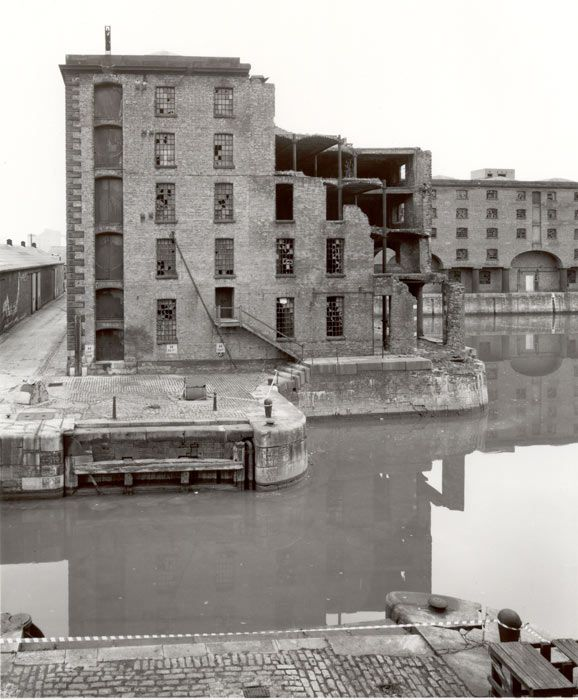 Bomb damage sustained by the Albert Dock warehouses, Liverpool, England, during the Second World War. The damage was left for decades, this picture was taken in 1982.