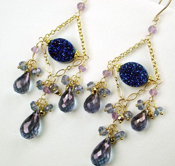 Blue Titanium Druzy Chandelier Earrings 14kt Gold Filled Chain Blue Violet Denim Quartz Gold Pyrite Long Wire Wrapped Luxury Spring Fashion