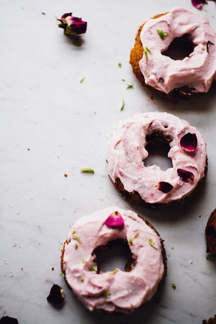 cherry lime doughnuts with pink coconut whipped cream, gf, vegan