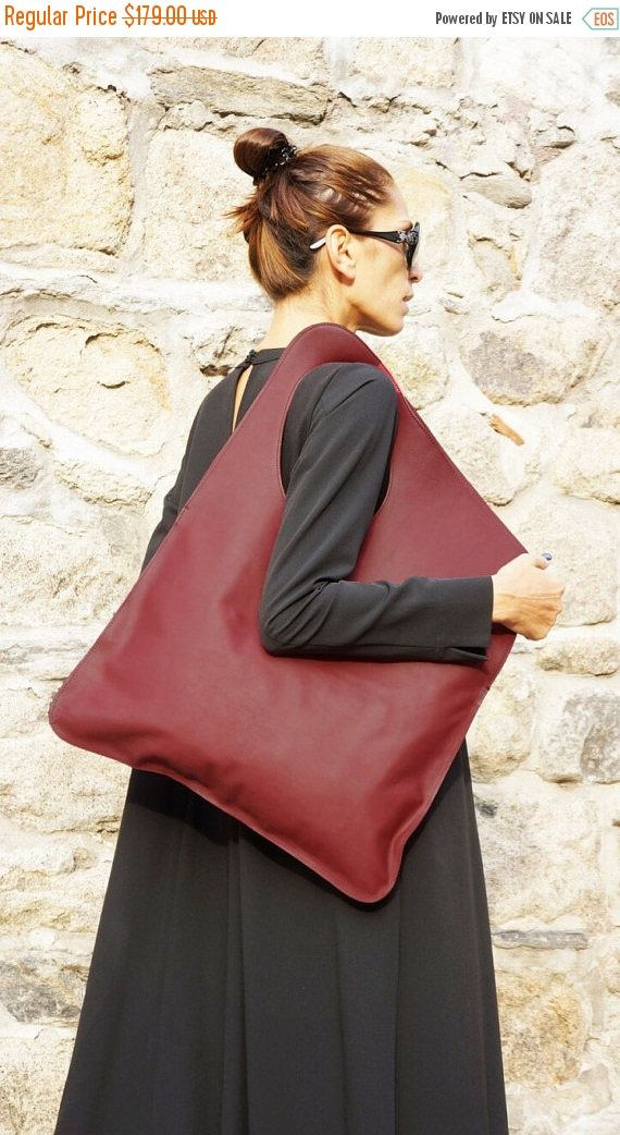 SALE NEW Genuine Leather Burgundy Bag / High Quality Tote