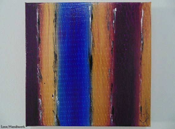 Purple Gold & Blue Abstract Square Painting 8x8 by LoveHandyWork