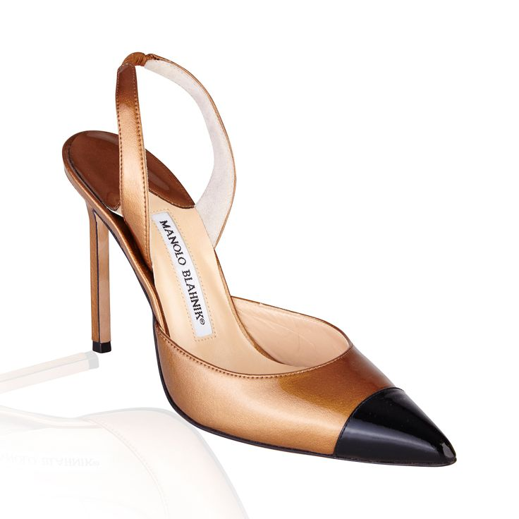 Manolo Blahnik Carolyne Slingback Pump Bronze/Black - The 'Carolyne' Sling back is an effortlessly classic pump that is versatile, suitable for corporate attire or an evening out.