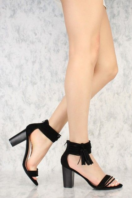 ab7d6309e8b Black Strappy Fringe Tassel Accent Open Toe Chunky Heels Faux Suede ...