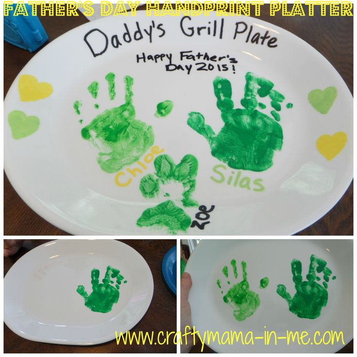 Father's Day Handprint Platter, #Father'sDay, Kids Handprint Crafts, BBQ Platter, Father's Day Crafts