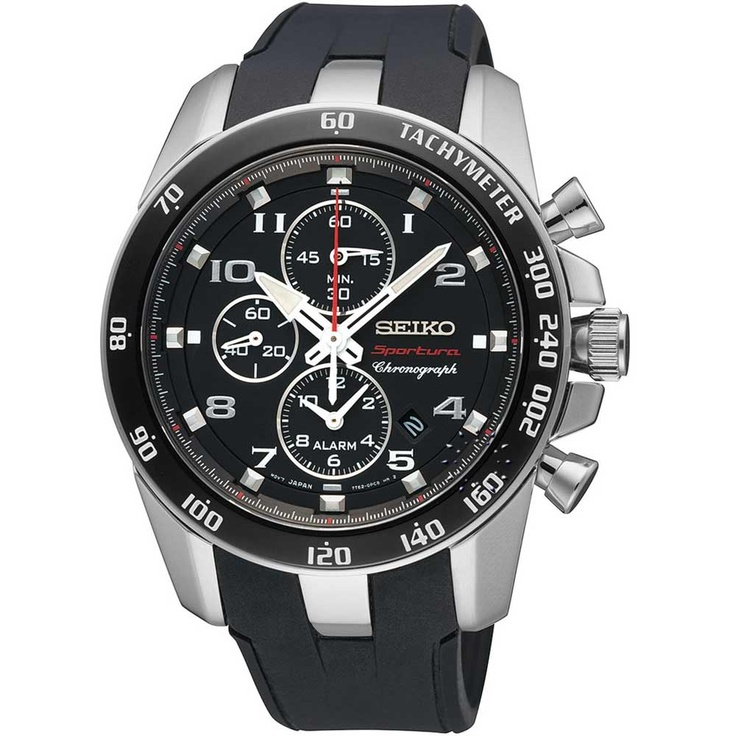SEIKO SPORTURA Alarm Black Rubber Strap  465€  http://www.oroloi.gr/product_info.php?products_id=30278