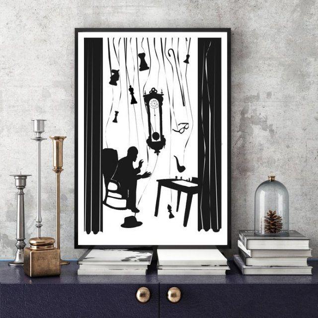 Reprodukcja ilustracji pierwotnie wykonanej piórkiem z atramentem. Wydruk na błyszczącym papierze Poster Gloss 200g. w formacie 100x70 cm. Ilustracja wymaga oprawy. Wzór jest zastrzeżony. Przesyłka w tubie.