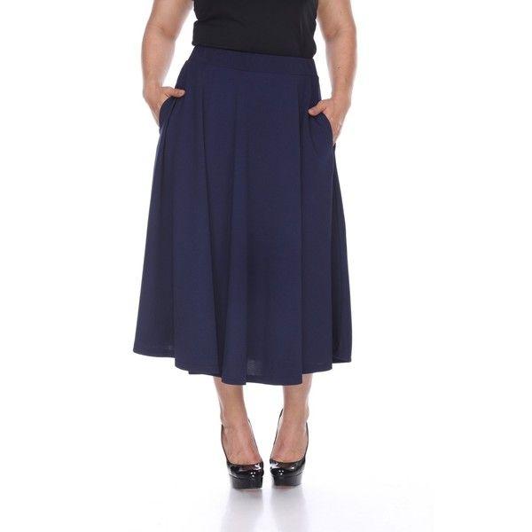 White Mark Fashion Plus Tasmin Flare Midi Skirt ($25) ❤ liked on Polyvore featuring plus size women's fashion, plus size clothing, plus size skirts, navy, elastic waist skirt, midi flare skirt, flared skirts, navy skirts and midi skirt