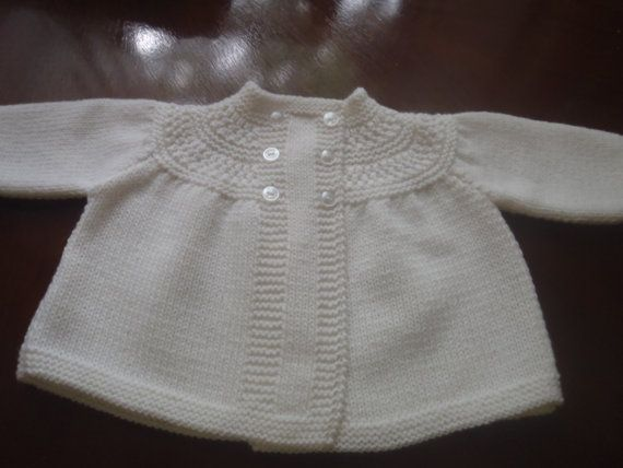 Italian Merino Hand Knit Vintage Style Baby Matinee Jacket / Sweater 0 - 3 months
