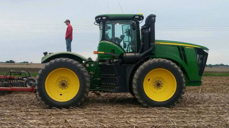 Jordon checking the implement he was pulling while working ground.