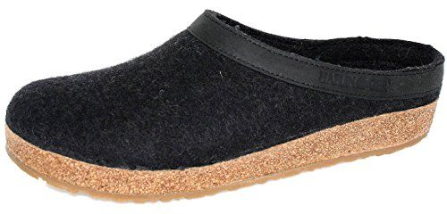Haflinger Unisex GZL Leather Trim Grizzly Charcoal ClogMule 38US Womens 7 Medium *** Check out the image by visiting the link.