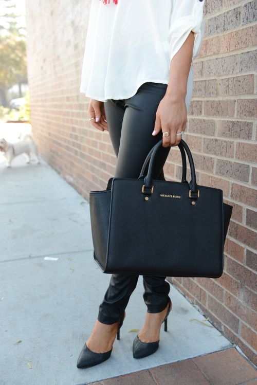 leather pants + michael kors selma satchel