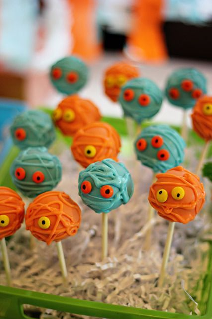 monster pops - cute idea for Halloween party