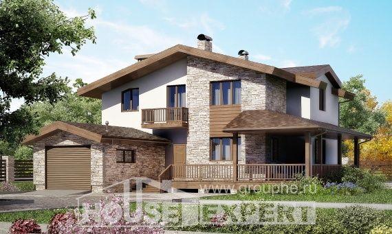 220-001-R Projekt domu dwukondygnacyjnego z pięterkiem mansardowym i garażem, nowoczesny dom podmiejski z bloków pianobetonowych, Jastrzębie-Zdrój