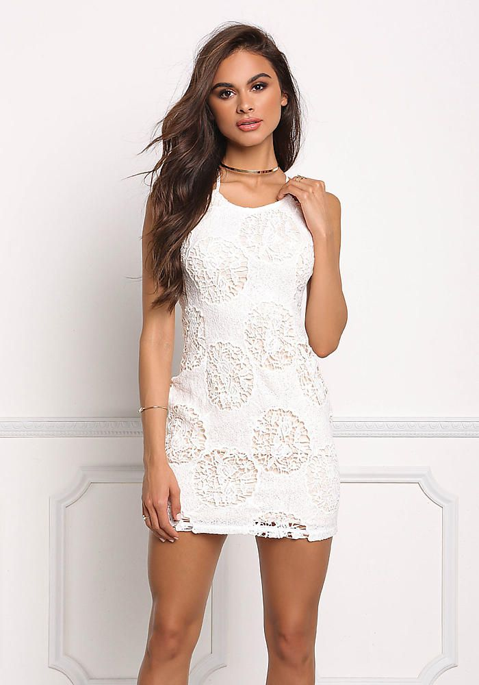 Ivory Crochet Lace Up Bodycon Dress - Girls Night Out - Dresses