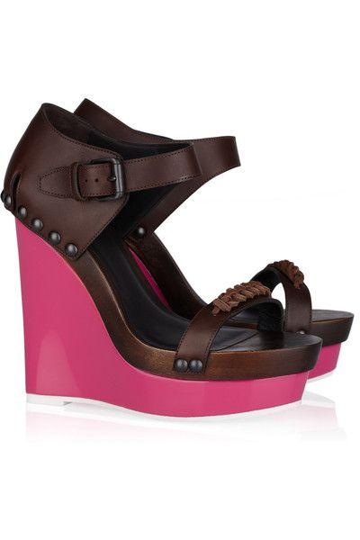 Bottega Veneta Contrast wedge leather sandals #shoes