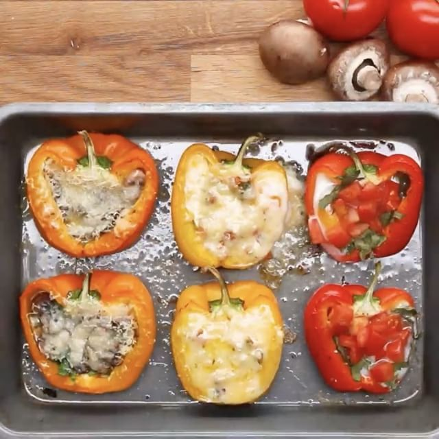 "Make a yummy breakfast FULL of veggies ! # BELL PEPPER EGG BOATS Servings: 6  INGREDIENTS 3…"" 375f for 20 min"
