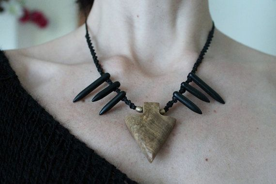 Tribal style necklace with mexican fossil stone arrow by SuryaSoul