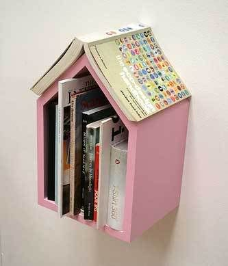 Bookshelf by the bed that keeps your place. Love birdhouses and we