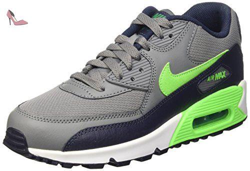 Nike Air Max 90 Mesh (GS), Chaussures de Running Compétition Garçon, Gris-Grau (Cooles Grau/Hochspannungs Grün Schwarz/Weiß 013), 37.5 EU - Chaussures nike (*Partner-Link)