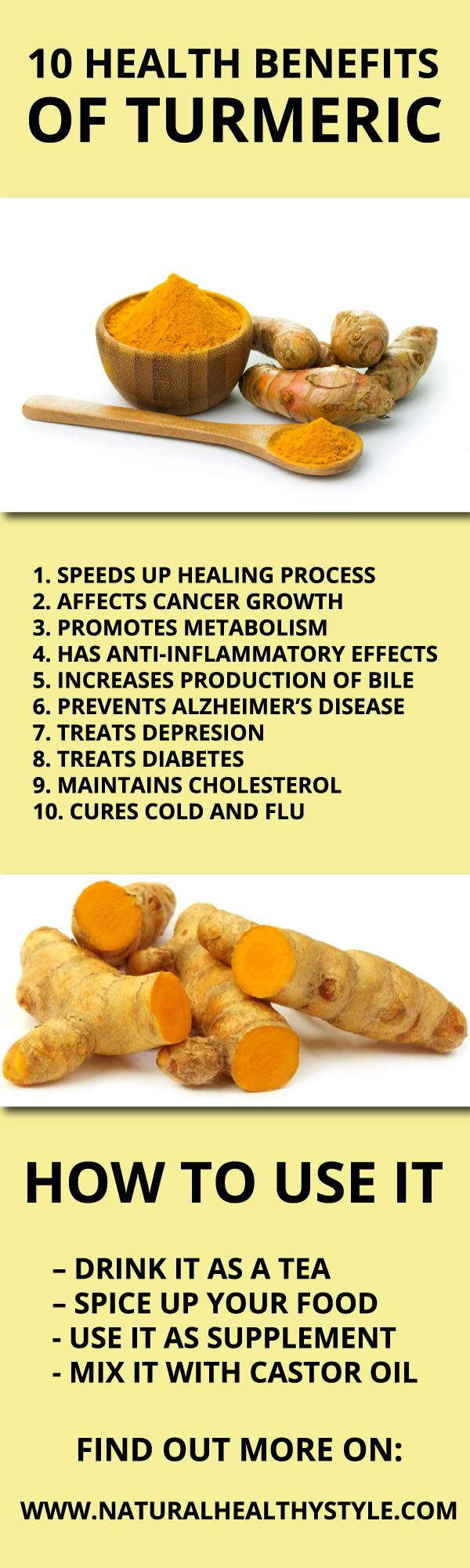 Turmeric has been used as a herb over the centuries for its anti-inflammatory properties and is also packed with several nutrients, including dietary fiber, sodium, vitamin C, E, K, calcium, iron, zinc and magnesium. Due to all these properties, this orange-colored spice works great in treating lots of different health problems. Here are some evidence-based