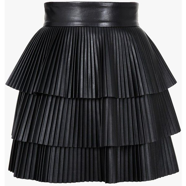 Balmain Pleated leather mini skirt ($1,755) ❤ liked on Polyvore featuring skirts, mini skirts, bottoms, balmain, saias, high waisted mini skirt, tiered skirt, short pleated skirt, high-waisted skirts and short skirts