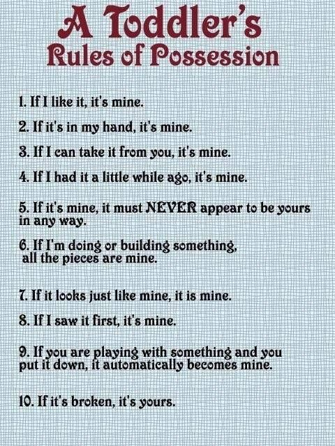 A toddler's rules of possession