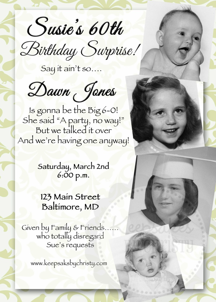 12 best images about Momu0027s special day on Pinterest Pound cakes - sample invitation wording for 60th birthday