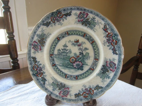 Antique Teal Yeddo Royal Staffordshire Pottery Dinner