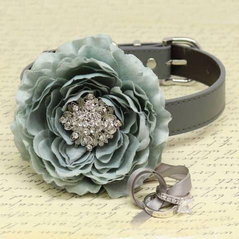 #Gray #Flower #Ring #Bearer #Dog #Collar, #Wedding #Pet #Accessory, #Puppy #Proposal, #Beaded #dogs collar