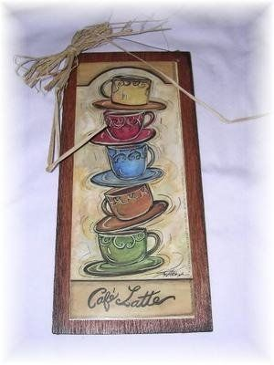 Cafe Latte Stacked Coffee Mugs Kitchen Wall