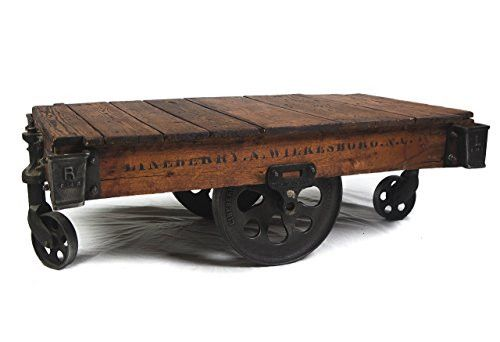 1900s Restored Lineberry Factory Cart Coffee Table