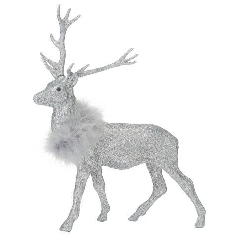 Silver glitter stag Christmas decoration - Christmas Home Decorations - Christmas Decorations - Christmas Shop