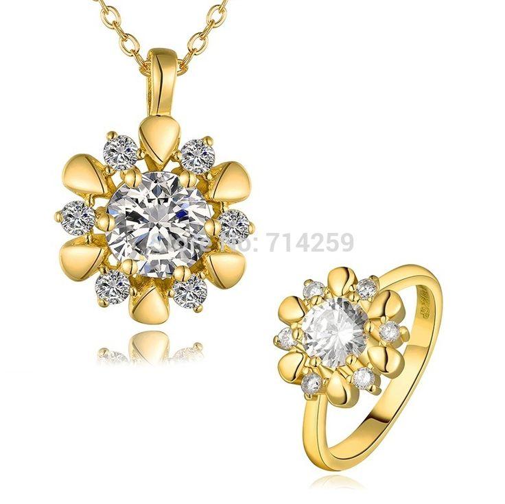 Золото / розовое золото / платиновое покрытие кольца и ожерелье ювелирные комплект KS431