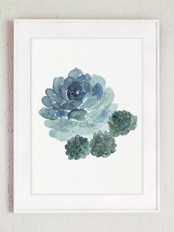 Succulent Plant Set 3 Flowers Blue Watercolour Painting Cactus